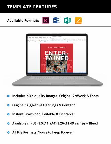 Editable Digital Entertainment Magazine Template
