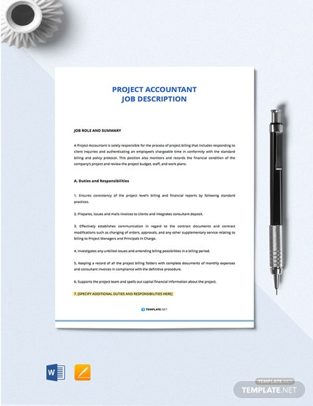 Project Account Job Description Template