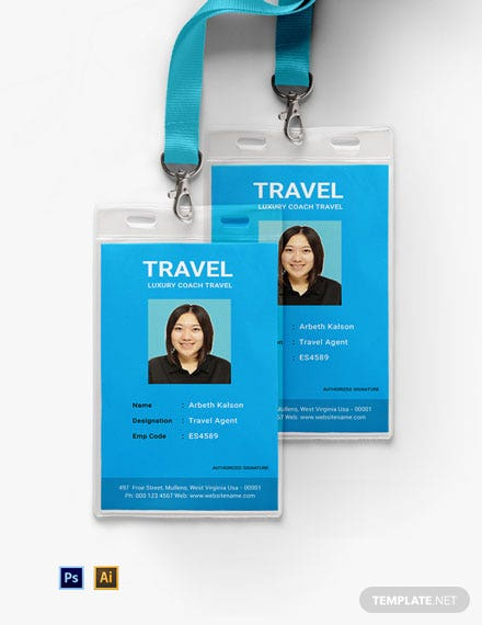 Free Travel Agency ID Card Template