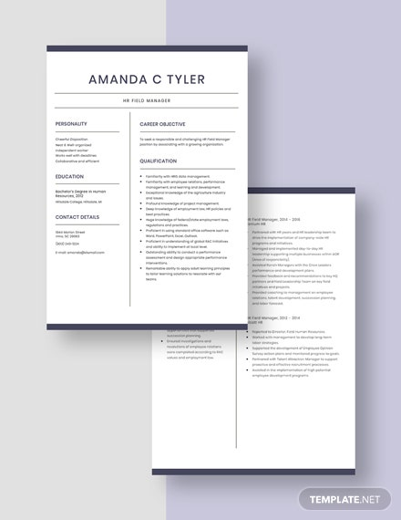 HR Field Manager Resume Download