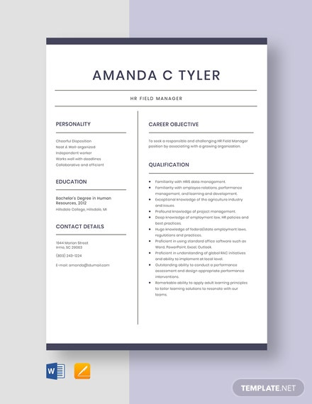 HR Field Manager Resume Template