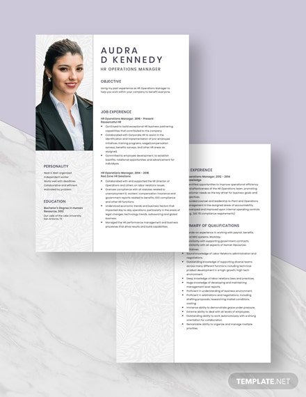 HR Operations Manager Resume Download