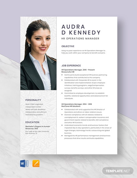 HR Operations Manager Resume Template