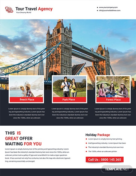 tour travel flyer template 1x