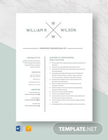 Sharepoint Business Analyst Resume Template
