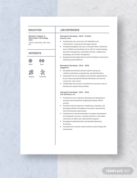 Sharepoint Developer Resume Template