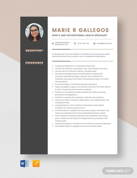 Safety And Occupational Health Specialist Resume Template