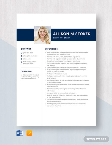 Safety Assistant Resume Template