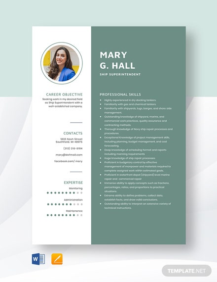Ship Superintendent Resume Template