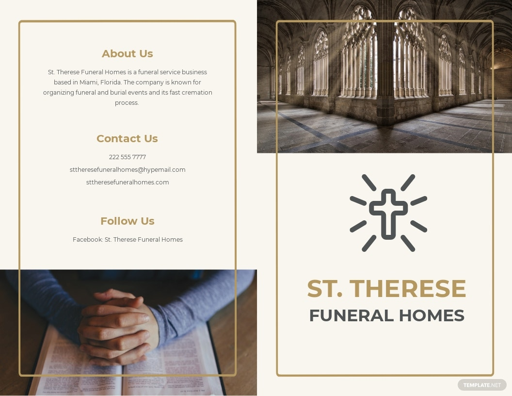 FREE Order Of Service Funeral Program Bi-Fold Brochure Template - Word, Apple Pages, PSD
