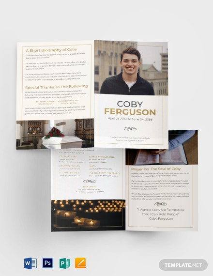 Order of service Funeral Program Brochure Template