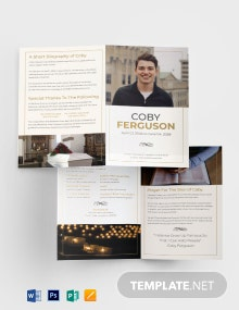 Order Of Service Funeral Program Bi-Fold Brochure Template