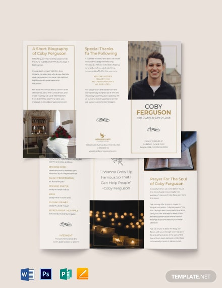 Order Of Service Funeral Program Tri-Fold Brochure Template