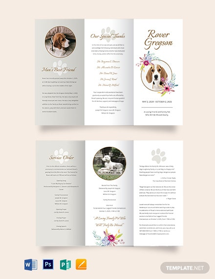 Pet Cremation Funeral TriFold Brochure Template
