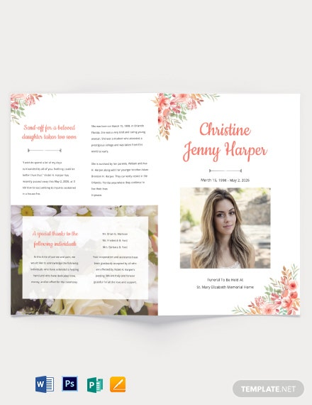 Plan Funeral Memorial Bi-Fold Brochure Template