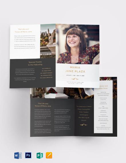 Printable Acknowledgment Funeral Bi-Fold Brochure Template