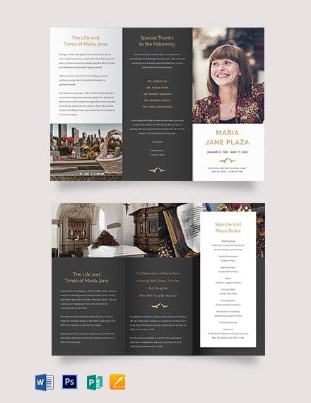 Printable Acknowledgment Funeral Tri-Fold Brochure Template