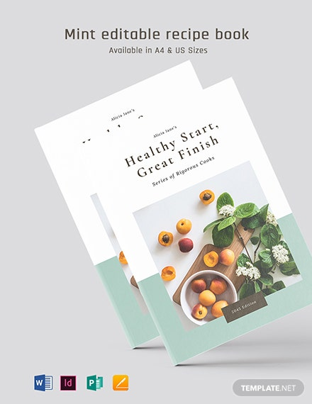 Mint Editable Recipe Book Template