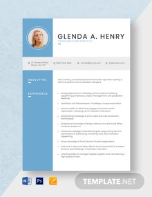 Communication Specialist Resume Template