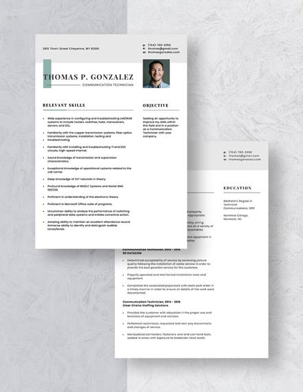 Communication Technician Resume Download