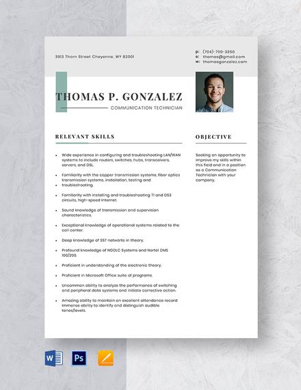 Communication Technician Resume Template