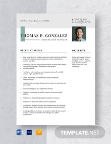 Communication Technician Resume Template