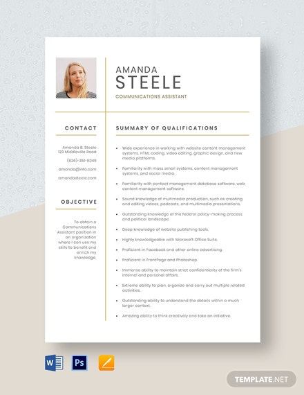 Communications Assistant Resume Template