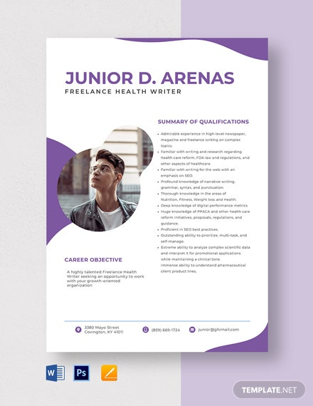 Freelance Health Writer Resume Template