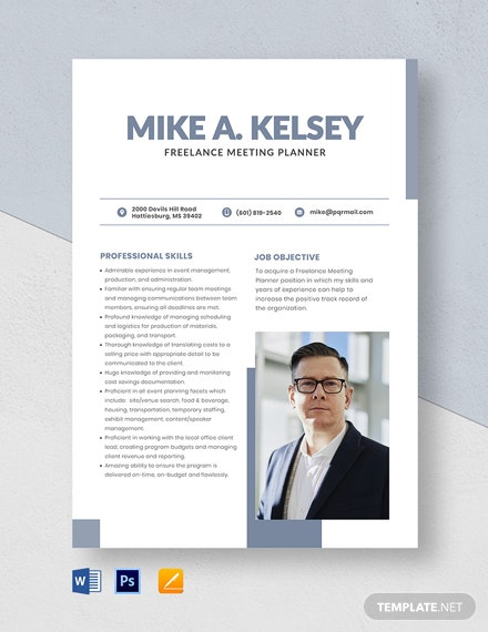 Freelance Meeting Planner Resume Template