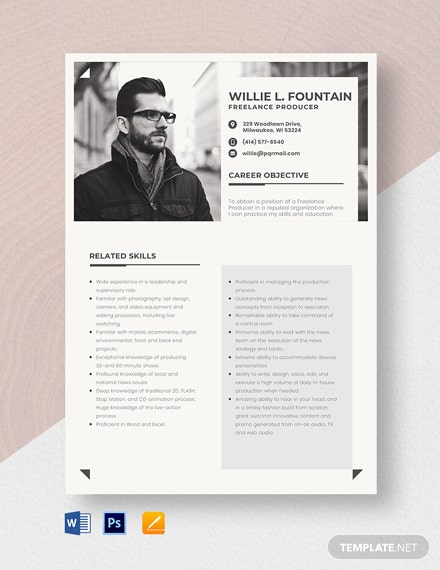 Freelance Producer Resume Template