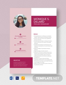 Freelance Researcher Resume Template