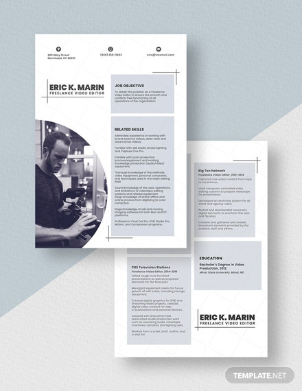 Freelance Video Editor Resume Template Download 3941