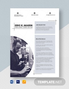 Freelance Video Editor Resume Template