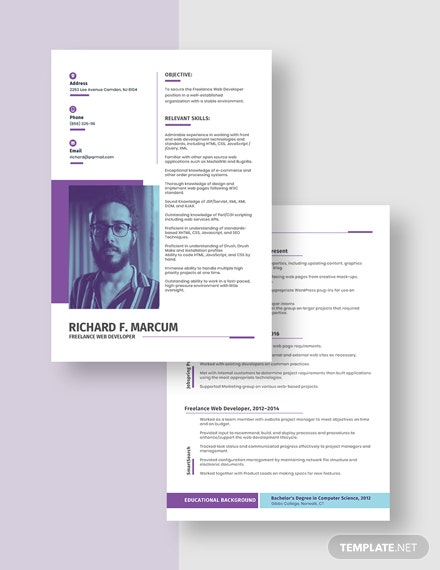 Freelance Web Developer Resume Download