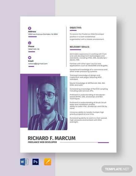 Freelance Web Developer Resume Template