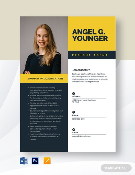 Freight Agent Resume Template
