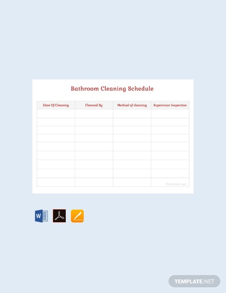 Free Bathroom Cleaning Schedule Template