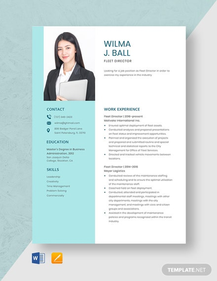 Fleet Director Resume Template