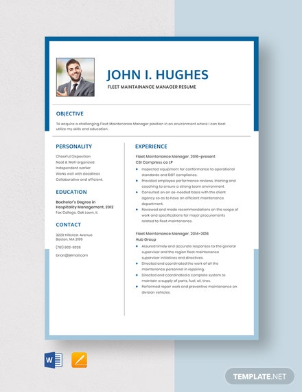 Fleet Maintenance Manager Resume Template