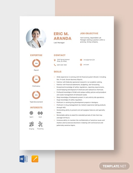 Lab Manager Resume Template