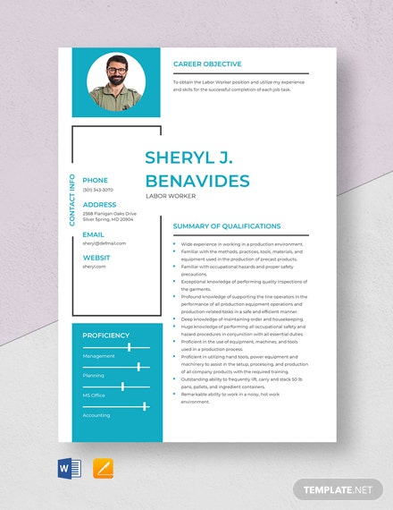 Labor Worker Resume Template