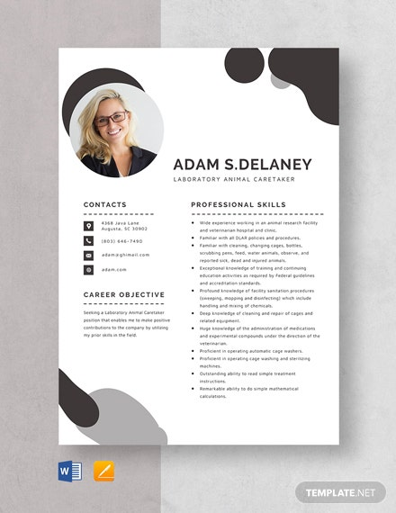 Laboratory Animal Caretaker Resume Template