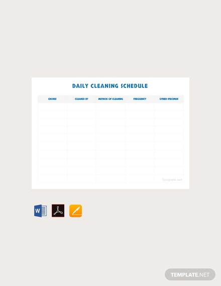 Free Daily Cleaning Schedule Template
