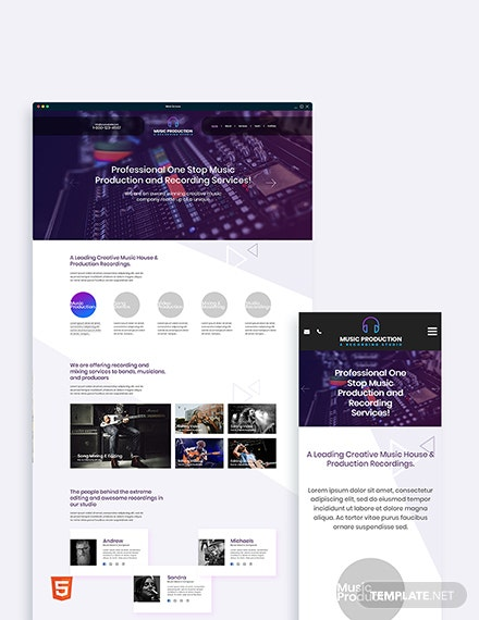 Music Production Bootstrap Landing Page Template