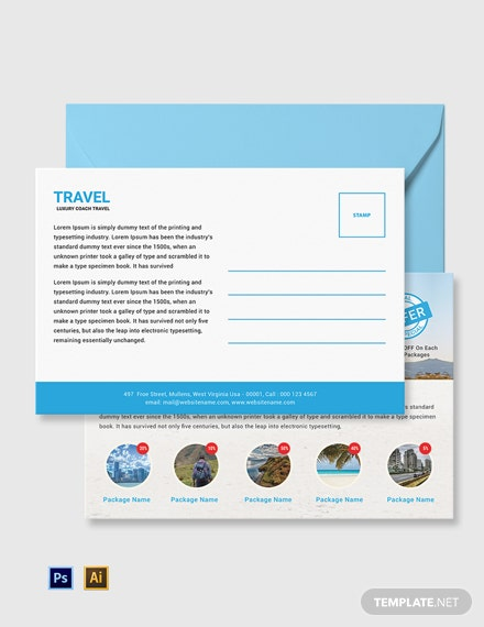 Free Travel Agency Postcard Template