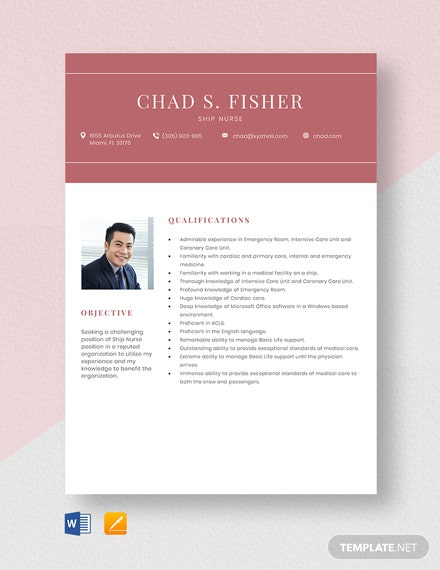 Ship Nurse Resume Template