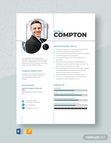 Set Decorator Resume Template