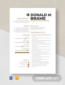 Sewing Machine Operator Resume Template