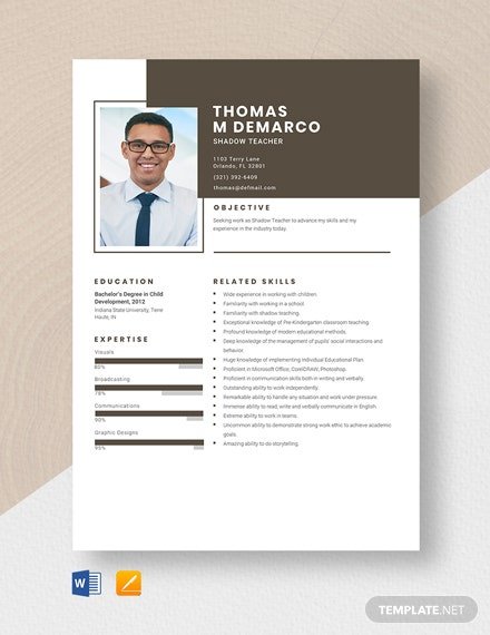 Shadow Teacher Resume Template