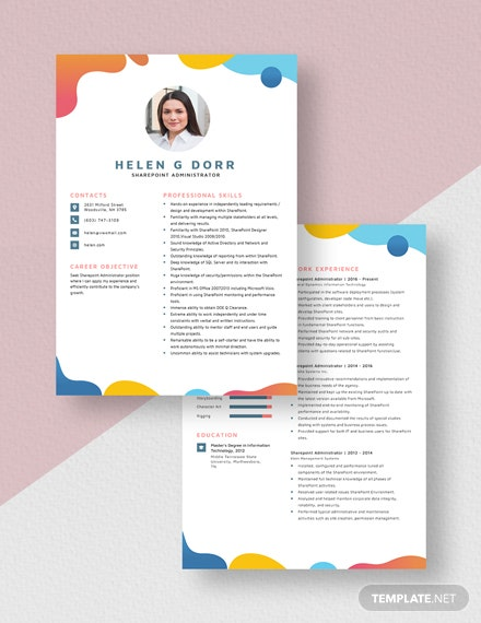Sharepoint Administrator Resume Download